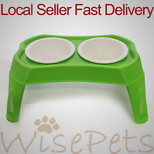 Twin Pet Dog Cat Food Water Bowl on Stand Plastic Raised Elevated Dishes Feeders