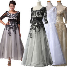 Tea Length Vintage Mother Bride Party Prom Evening Formal Long Lace Dresses Gown