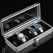 6 Grid Aluminum Jewelry Watch Display Windowed Case Box Storage Holder Organizer
