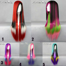 Lolita Long Mixed Multi-Colors Cosplay Stylish Lady Anime Straight Hair Wig