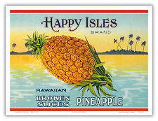 Pineapple Hawaii Aloha Happy Isles Vintage Can Label Art Poster Print