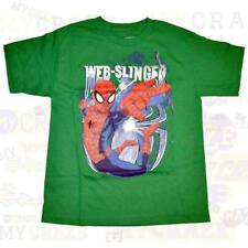 SPIDERMAN Marvel Web Slinger Green Boys Kids Youth T-Shirt Size M 8-9