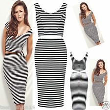 NEW WOMENS LADIES CELEBS INSPIRED MONOCHROME TWO PIECE CROP TOP SKIRT SET 8/14