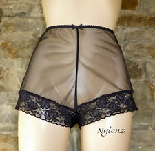 Vintage Style Completely Sheer Nylon FRENCH KNICKERS Panties Black XS-XXL