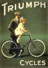 Vintage Old Triumph Cycles Bicycle Advertisment Poster Art Print A3 A4