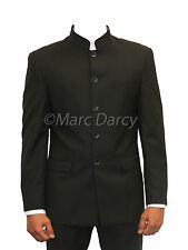 MENS BLACK 2PC  NEHRU GRANDAD COLLAR SUIT BEATLE STYLE IDEAL FOR WEDDINGS PROMS