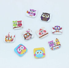 100/200/500 Wood Buttons Sewing Scrapbooking Owl square Shape 2 Holes Mixed 15mm
