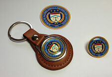 U.S.  BUREAU  A.T.F. LEATHER KEY RINGS &  BADGES  + FREE A.T.F. STICKERS