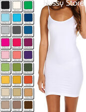 Womens Stretch Layering Long Cami Camisole Tank Top Seamless Mini Dress Slip