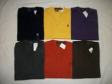 NEW WITH TAGS MENS POLO RALPH LAUREN CUSTOM FIT MERINO WOOL V NECK SWEATERS