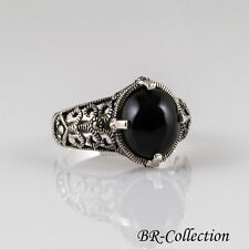 Sterling Silver Ring with Turquoise or Onyx with Swiss Marcasite