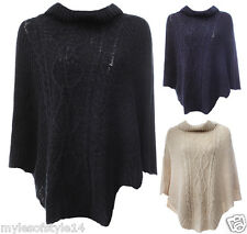New Pattern Knitted Polo Neck Ponchos Ladies Womens Wrap Shawl Jumper Sweater