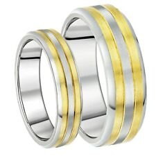 Brand New His & Hers Titanium Two Tone 6&8mm Wedding Ring Bands
