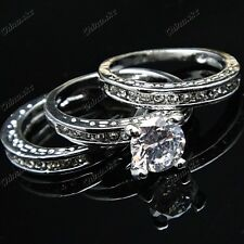 3-in-1 Cubic Zircon White Gold Women Bridal Band Ring Engagement Wedding Jewelry