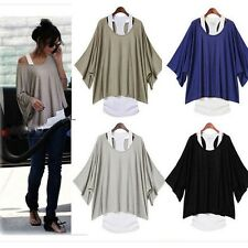 Fashion Women's Batwing Blouse Casual Loose Tops T-shirt +Tank Vest S-XXL