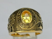 9x7mm Knights Templar Masonic Mason November Yellow Stone Men Ring Size 7-15