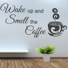 Wake up and Smell the Coffee Wall Art Picture Sticker bar kitchen kettle toaster