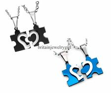 One Pair Stainless Steel Heart Love Puzzle Pendant Couple Chain Necklaces