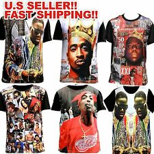 TUPAC BIGGIE SHAKUR T-shirt THUG LIFE Red Wings 2PAC Tee Rap Hip Hop  3D T SHIRT