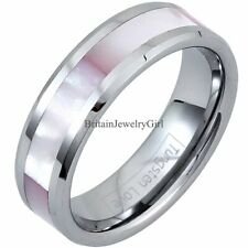Ladies Pink Shell  Inlay Tungsten Carbide Ring Band Womens Ladies Gift