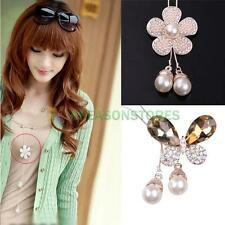 Fashion Flower Butterfly Pearl Rhinestone Pendant Sweater Long Chain Necklace