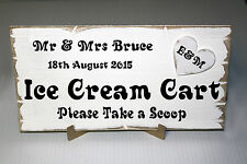 Personalised Rustic Wedding ICE CREAM CART Sign. Shabby Chic Wooden Plaque
