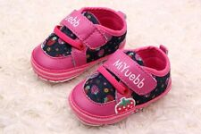 Toddle infant baby  girl rose red soft sole Crib Shoes sneaker size 0-18 months