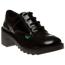 New Womens Kickers Black Kopey Lo Leather Shoes Lace Up