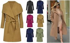 Womens ladies ITALIAN Long Waterfall drape Trench Coat Jacket size 8 10 12 14