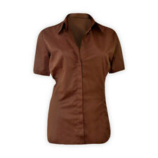 Womens Ladies Short Sleeve Shirt Brown Casual Cotton Top Tshirt Blouse Size 8-20