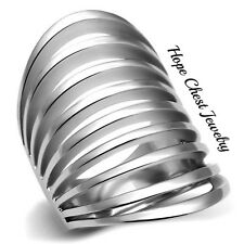 WOMEN'S SILVER TONE STAINLESS STEEL LONG WIDE MODERN STATEMENT RING SIZE 5-10