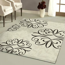NEW FLORAL MEDALLION AREA RUG Brown Ivory Black Cream Living Room Bedroom Decor