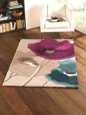 Infinite Mod Art Poppy Flowers Teal Blue Purple Handtufted Rug in various sizes