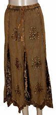 NEW! Gold Brown Velvet Trimmed Sparkly Sequins Luxury Gypsy Maxi Skirt Size 22