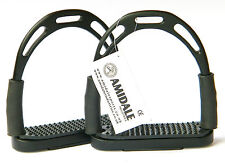 JIN FLEXI SAFETY STIRRUP HORSE RIDING BENDY IRON S/STEEL BLACK COLOR FRM AMIDALE