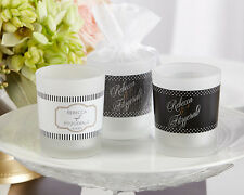 Personalized Black & White Frosted Glass Tea Light Votive Candle Wedding Favor