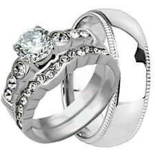3 pc His Hers TITANIUM & STAINLESS STEEL Engagement Wedding Ring Set Band Bridal