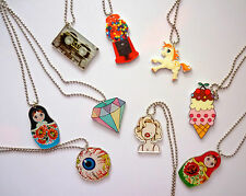 CLEARANCE SALE - NEW Laser Cut Printed Acrylic Necklace Kitsch Retro