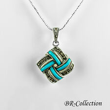 Sterling Silver Pendant with Agate, Onyx or Turquoise & Swiss Marcasite