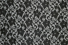 """BLACK SCALLOPED LACE GOTHIC FLORAL STRETCH FABRIC NYLON SPANDEX 58"""" WIDTH"""
