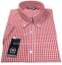 RELCO CLASSIC GINGHAM CHECK SHORT SLEEVE SHIRT RED 60S VINTAGE DESIGN MOD SKIN