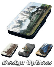 Steam Trains - Printed Faux Leather Flip Phone Cover Case