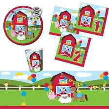 Farm Fun Boys Girls First & Second 1st 2nd Birthday Party Tableware Plates Cups