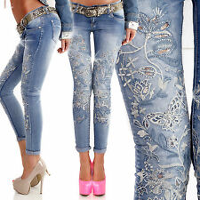 New Sexy Women Ladies Skinny Jeans Embroidery Blue Slim Fit Size 6 8 10 12 S M L