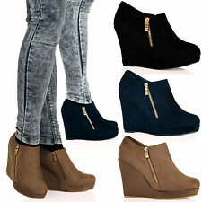Lux Womens Mid Heel Wedges Ankle Boots Gold Zip Detail Casual Ladies Shoes Size