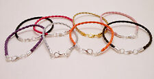 Leather Braided Cord Surfer Bracelet or Anklet with Lobster Clasp 3mm Unisex-USA