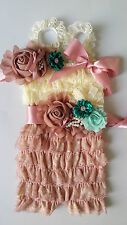 lace romper petti romper,baby romper, post romper multiple flowers sash headband