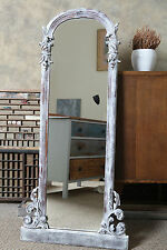 A Lovely Mahogany Victorian Shabby Chic Tall Mirror in Old White