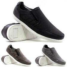Mens Gents Casual Flat Slip On Canvas Skate Pumps Plimsolls Trainers Shoes Size
