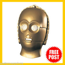 Mens Fancy Dress Up Costume Accessory RD Licensed Star Wars PVC Mask C-3PO